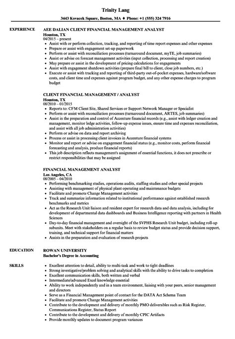 financial management analyst cover letter resume for analyst position finance analyst resume