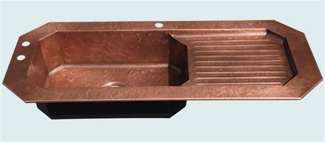 kitchen sinks with drainboard built in crafted copper sink with drainboard s hammering 9594