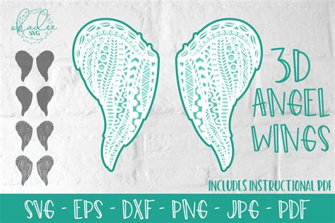 Instant download for use with your cricut or silhouette #cutfile #svg #free. Layered Angel Wings, 3D Zentangle Memorial Wings, SVG, DXF ...