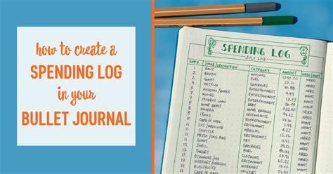 create  spending log   bullet journal
