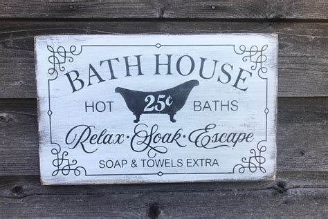 This sign is a farmhouse décor idea that is perfect for a bathroom. bathroom decor, wood signs, bathroom signs, primitive rustic bathroom - Mockingbird Primitive