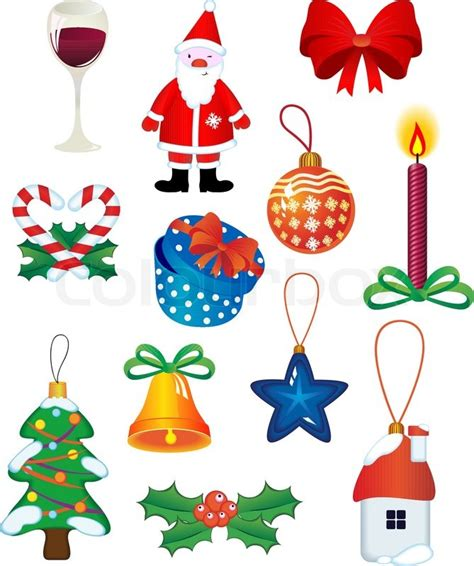 christmas symbols christmas icons and symbols for design isolated on white stock vector colourbox