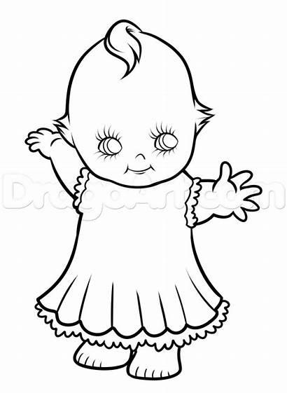 Doll Drawing Kewpie Dolls Step Cupie Coloring