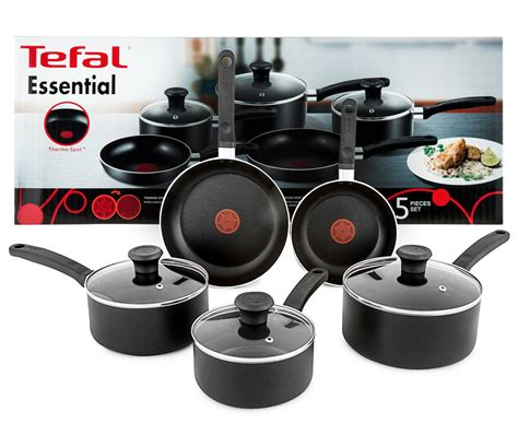 tefal essential  stick  piece cookware set catchcomau