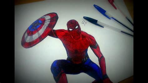 spiderman drawing  ballpoint  marvel civil war