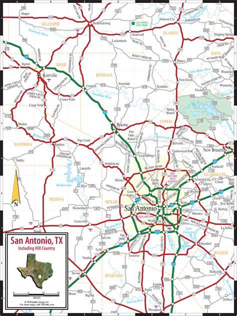 san antonio texas hill country map
