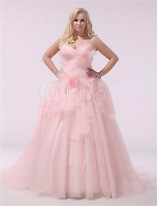 plus size wedding dress pink organza bridal gown With robe blanche grande taille