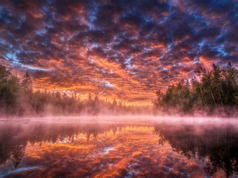 Sunset Lake Vapor Mist Heavy Clouds Red Sky Shadows Pine