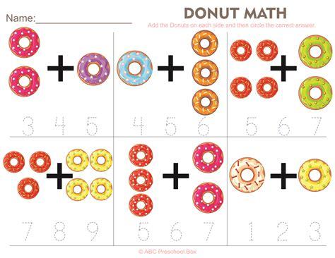 donut math preschool worksheet from abcpreschoolbox 123 | fa334319106745a243e06ad6ec7d1135