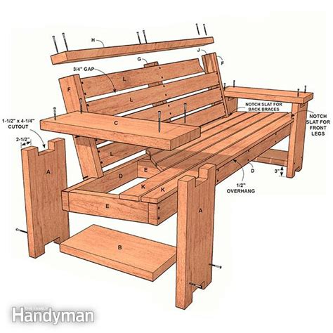 wood bench plans patio combo wooden bench plans with built in end