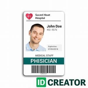 id badge for doctors from idcreatorcom With hospital id badge template