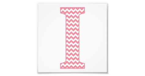 classic preppy pink chevron letter  monogram photo print zazzlecom