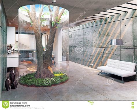 Home Interior Tree Picture : Modern House Interior Stock Illustration. Illustration Of
