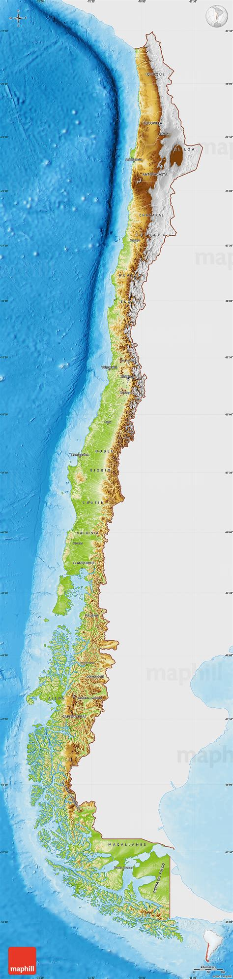 physical map  chile single color