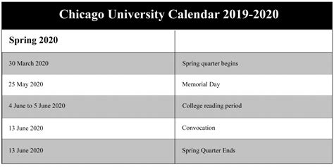 university chicago academic calendar school calendar