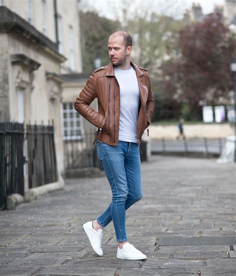 Boda Skins Antique Brown Biker Leather Jacket And Saint Laurent Sneakers Outfit | Your Average Guy