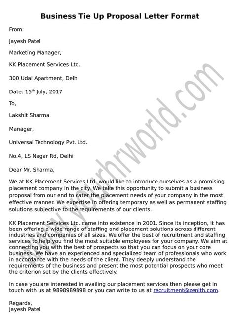 business tie  proposal letter format hr letter formats