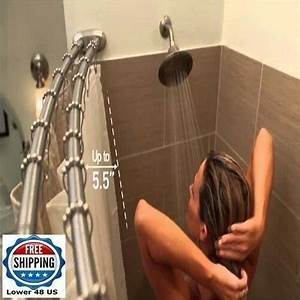 Double Shower Rod Oil Rubbed Bronze Curved Adjustable Space Saver Curtain Drape 731329158492