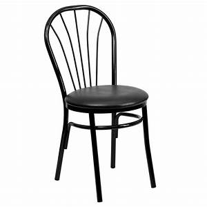 Our Metal Fan Back Bistro Chair With Black Vinyl Seat Is