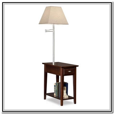 end table with l attached lighting and ceiling fans