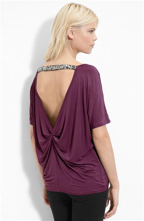 remain drape neck top  purple dark plum lyst