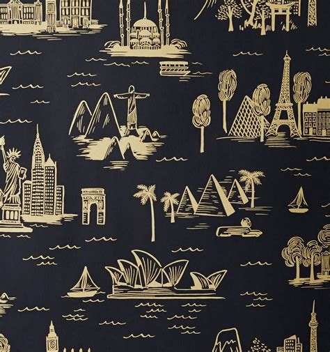city toile ebony wallpaper   home toile