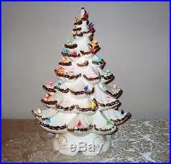 21 atantic mold flocked ceramic christmas tree vtg 18 ceramic lighted bx white tree atlantic mold gold flocked