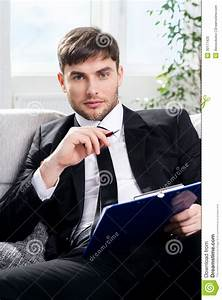 Male Psychologist Being Ready To Take Notes Stock Photo ...