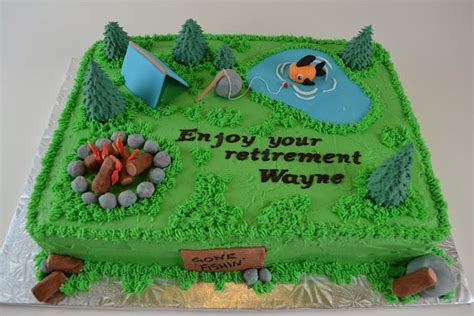 fishingcamping retirement cake party ideas