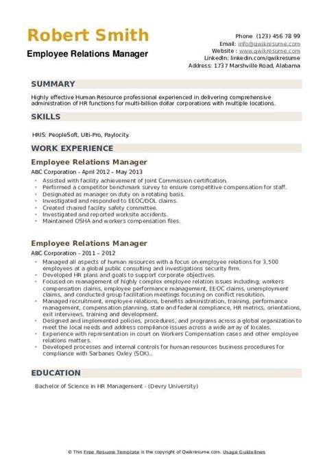 employee relations manager resume samples qwikresume