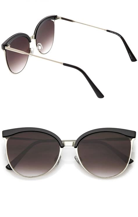 cutout frame cat eye sunglasses modern semi rimless cutout slim arms flat lens cat eye