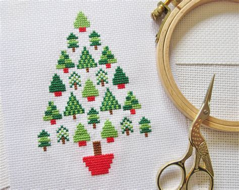 Christmas Tree Cross Stitch Pattern Modern Christmas Cross
