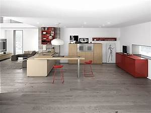 Dynamic Minimalist Kitchen Sizzles With Flaming Red Accents
