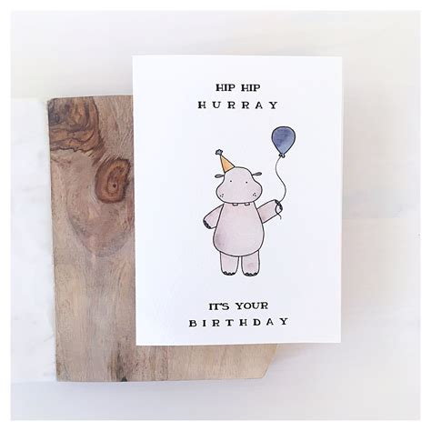 Perfect for friends & family to wish them a happy birthday on their special day. Hippo Card // birthday card, birthday greeting card, funny birthday card, birthday pun ...
