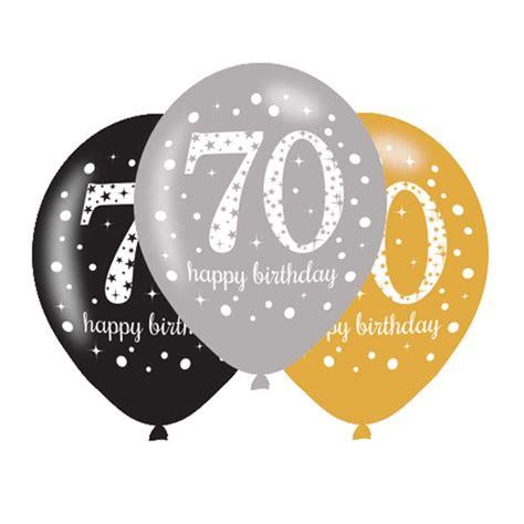 70 Birthday Decorations by 6 X 70th Birthday Balloons Black Silver Gold
