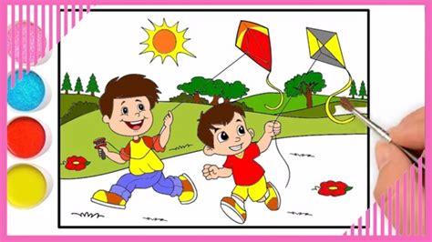 cara menggambar dan mewarnai anak bermain layang