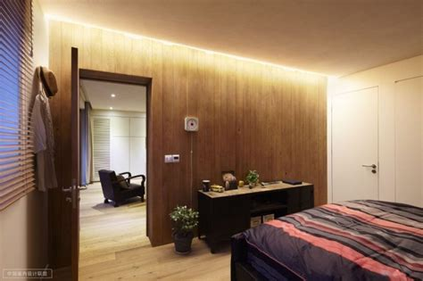 Shanghai Apartment With Modern Minimalist Flair by Simple Bedroom Warm Wooden Cladding And Occasional Chest