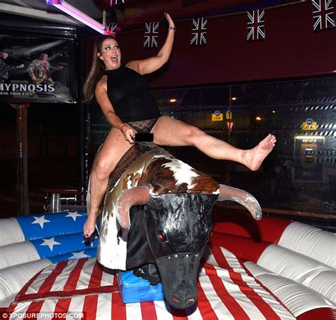 Lisa Appleton dons sheer briefs to ride a bucking bronco