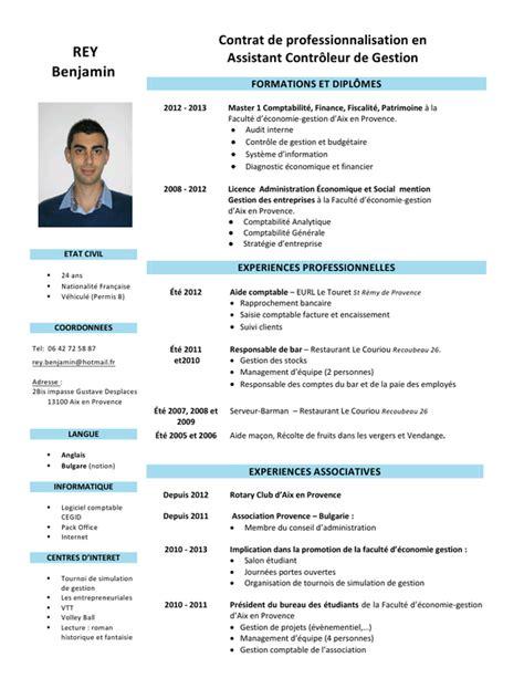 modele cv anglais controleur de gestion document