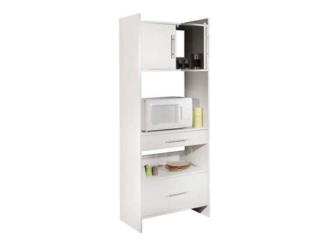 desserte haute 2 tiroirs 2 portes valy coloris blanc