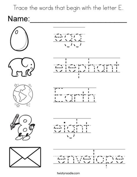 colors that start with e trace the words that begin with the letter e coloring page