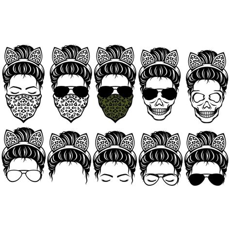 This free svg cut file comes in a single zip file with the following file formats: Messy Bun svg, mom life sunglasses and headband Svg, Messy ...