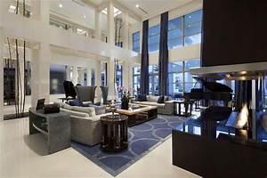 beautiful luxury living room with modern rectangular fire ...