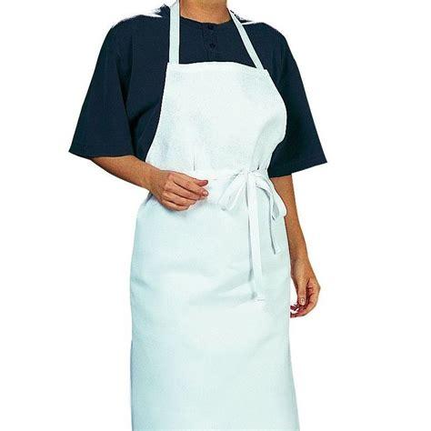 veste de cuisine manche courte tablier cuisine à bavette bistro blanc coton sergé