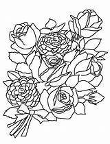 Coloring Flower Pages Roses Flowers Rose Bouquet Bunch Sketches Drawing Drawings Printable Getdrawings Sketch Bouquets Clipartqueen Line sketch template