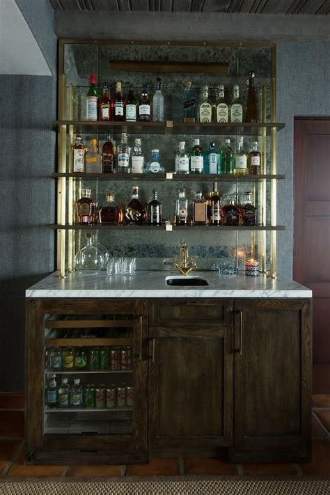 chic rustic wet bar boasts dark stained oak cabinets