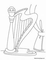 Coloring Harp Pages sketch template