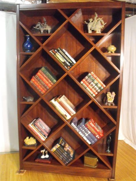 handmade bookcasecurio  diagonal shelves