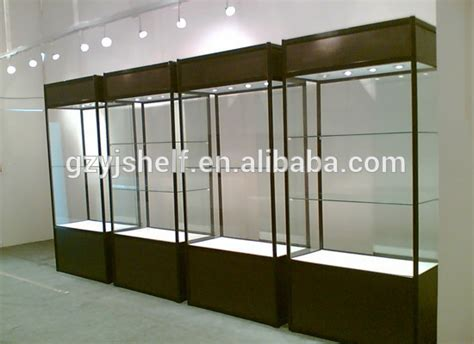 used lockable glass display cabinets aluminium frame glass display with attractive design wood