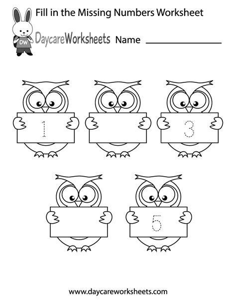 preschool fill   numbers worksheet